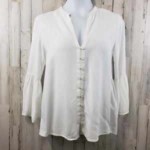 Zara Basic Women Top Ivory Button Front V-Neckline